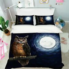 3D Moon Owl A522 Animal Bed Pillowcases Quilt Duvet Cover Set Queen King Zoe