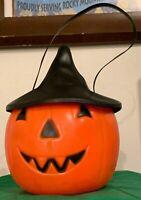 Vtg Empire Blow Mold Halloween Jack O Lantern Pumpkin Candy Bucket Witch Hat