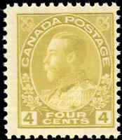 Mint NH Canada 4c 1925 F Scott #110d King George V Admiral Issue Stamp