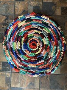 Multi Colored Hand Made Braided Rug Circular