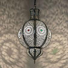 Lampe orientale lanterne Marocaine Suspensions Malika argent fait à la main