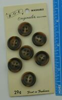 """B G E Originals Brown Tan Cloudy Button on Card Size 5/8"""" Washable Vintage"""