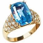 Fashion Ring 18k Yellow Gold Plated Blue Topaz Citrine Women Jewelry FREE SHIP