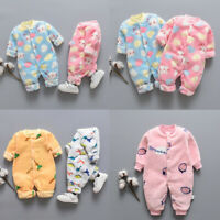 New Toddler Infant Newborn Baby Cartoon Fleece Warm Romper Jumpsuit Soft Pajamas