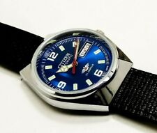 CITIZEN AUTOMATIC MEN,S STEEL PLATED VINTAGE BLUE DIAL MADE JAPAN WATCH ORDER