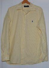 Vintage Ralph Lauren Polo Mens Shirt Yellow Blue Striped 16 40 41 Button Down LS