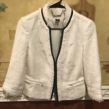 White House Black Market Tweed Fringe 3/4 Sleeve Blazer Jacket Size 4