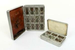 """2 x Vintage ~ Alloy Fly Boxes / Tins with Flies Inc """"S. Allcock Co. Ltd.""""  #2253"""