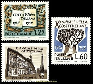 EBS Italy 1958 - 10th Anniversary of the Constitution - Unif. 829-831 MNH**