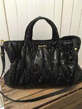 Miu Miu Bag Schwarz Lack Leder Handtasche Henkel Tasche Umhängetasche Classic