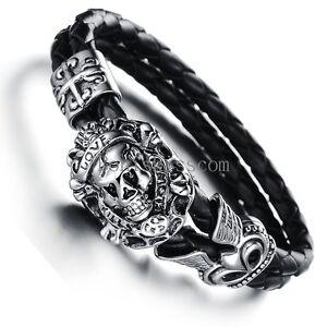 Stainless Steel Vintage Cross Skull Braided Leather Mens Bracelet Halloween Gift