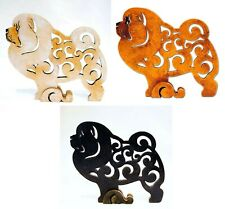 Chow chow figurine, dog statue made of wood (MDF), hand-painted