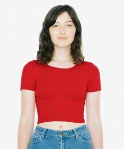 American Apparel Women's Red Short Sleeve Crop Top Size: Medium