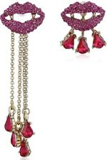 BETSEY JOHNSON VAMPIRE SLAYER LIPS PAVE MISMATCH Dangle & Cuff EARRINGS NWT