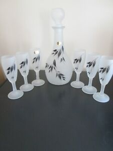 7 Piece Decanter Set Frosted Gorgeous Hand painted leaf design Al Rama Israel