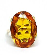 Vintage Citrine 13.00ct. Yellow Gold 9k 375 Ladies Ring UK Size F European 44