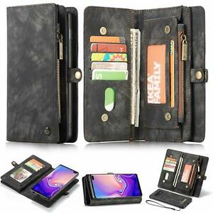 Multi-functional Zipper Wallet Magnetic Leather Case For Samsung S8 S10+ S20+S21