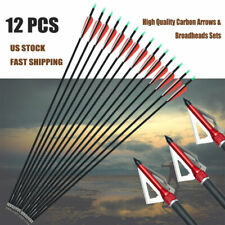Archery Express Carbon Arrows Field Tips + 3 Blade Broadhead Hunting Us Shipping