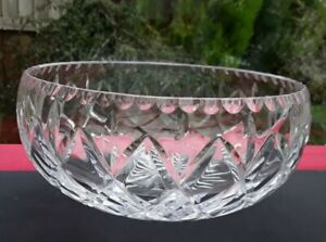 """LARGE CUT GLASS LEAD CRYSTAL FRUIT SALAD TRIFLE SERVING BOWL - 7.5"""" WIDE SIGNED"""