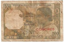 BANQUE DE MADAGASCAR ET DES COMORES RED OVERPRINT COMORES 100 FRANCS ND(1963) F