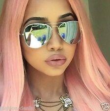Mirrored Reflectiv SILVER Aviator Classic Vintage Sunglasses Men Women Pink Hair