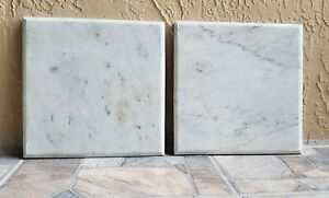 """Victorian  Pair of  White Marble Table Tops   Beveled Edges  13"""" Square"""