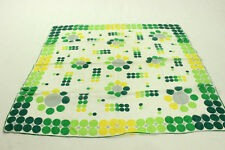 VTG 50's Silk Gradient Dots Scarf 60's Hand Rolled Yellow Green White