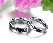 GirlZ! Titanium Stainless Steel Cubic Couple Matching Wedding Rings (2 pieces)