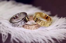 Women Men Gold Silver Rose Gold Screw Love Band Ring