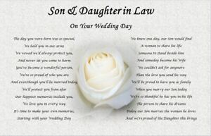 SON & DAUGHTER IN LAW- Wedding Day GIFT (Poem gift) - rose