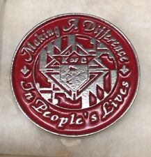 "Vintage Knights of Columbus Metal Belt Buckle ""K of C"" Logo Red/Silver Round"