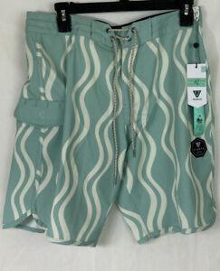 NWT Mens Vissla Upcycle Green Blue MINT Boardshorts Swim Trunks Size 31 $64.50