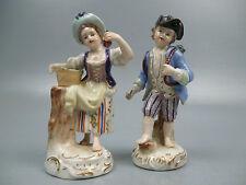 Pair Dresden German Porcelain Boy & Girl Figurine Gathering Grapes Harvesting PC