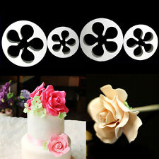 4PCS Rose Flower Cookie Plunger Cutter Fondant Sugarcraft Mold Cake Decorating