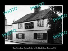 OLD LARGE HISTORIC PHOTO SANDWICH KENT ENGLAND, THE BLACK HORSE TAVERN c1940