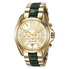 Brand New Michael Kors Women Oversize Gold BRADSHAW Green Acetate Watch MK6397