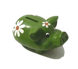 Vintage Retro Green Ceramic Pig Shaped Piggy Bank Daisy Flowers Rare