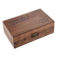 Pack of 70pcs Rubber Stamps Set Vintage Wooden Box Case Alphabet Letters Nu T8Y0