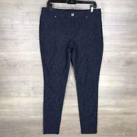 INC International Concepts Women's Size 10 Slim Skinny Leg Lace Pants Navy Blue