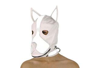 Petplay Hundemaske Weiß mit Knebel Hunde Maske Hund Ledermaske