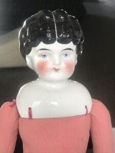 """Antique 18"""" German Black Hair China Head, Legs, Arms, Doll Unmarked Vtg"""