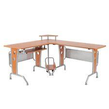"""67"""" L-Shaped Corner Computer Desk Office Workstation PC Table w/ Corner Rack"""
