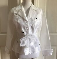 MSK Women Belted Long Sleeve White Sheer Button Front Collared Top Size S