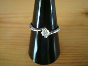 BEAUTIFUL STRONG STUNNING 20PT SOLITAIRE 9CT WHITE GOLD RING SIZE P