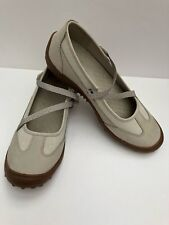 Lands End Womens Flat Shoes Z-Strap Mary Jane Silver Gray US 10 Med WM UK 8 NEW
