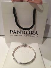 Auténtica 20cm Pandora Pulsera allanar momentos de Plata Corazón Broche 590727CZ PVP £ 75