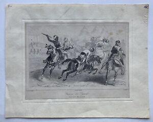 Turkey Turks Kampfszene 1840 Exercice De Djerid Chaillot Copperplate Antique