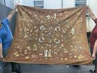 Enormous Antique Chinese Silk Panel With Figures And Animals Qing Period