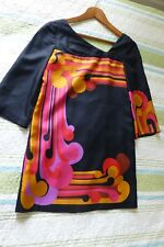 Tibi Black Orange Pink Silk Mini Shift Dress Mod Vintage Style 0 XS EUC