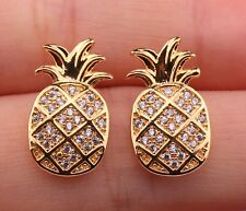 18K Gold Filled - Pineapple Leaf Topaz Zircon Party Gemstone Earrings Jewelry
